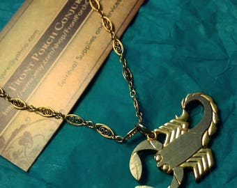 Vintage Gold Scorpio Necklace, Scorpion Necklace with gold chain