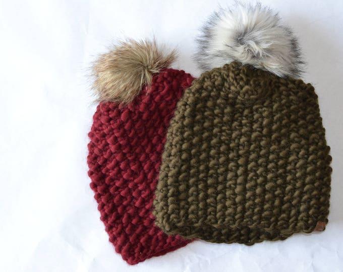 Chunky Green Slouch Beanie | Slouch Beanie | Knit Beanie | Chunky Knit Beanie | Unisex Beanie