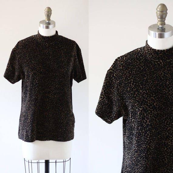 1980s leopard print sweater top // 1990s short sleeve sweater // vintage velvet sweater