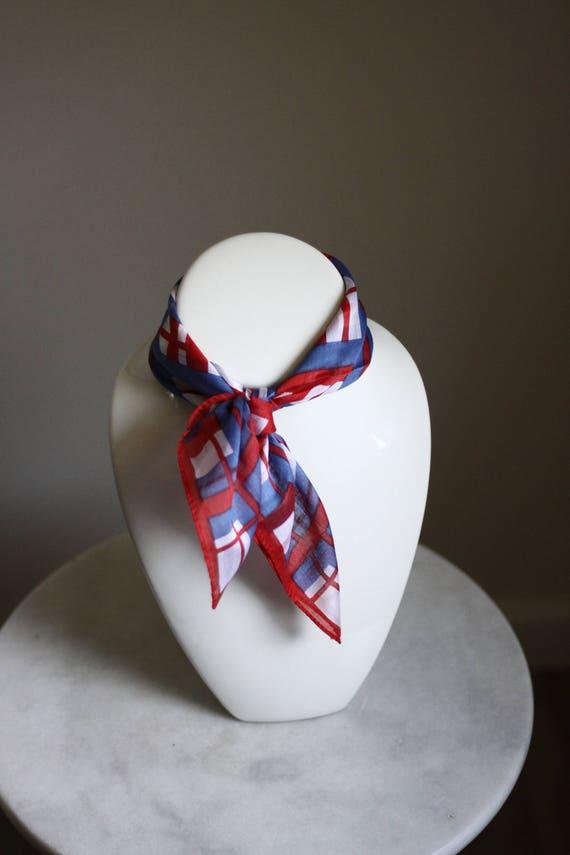 1970s red and blue plaid scarf // vintage plaid scarf // vintage purse scarf