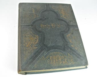 Holy Pictorial FAMILY BIBLE, King James KJV Red Letter, Illustrated, Leather, Large, Translated Original Tongues, Early 20th Century