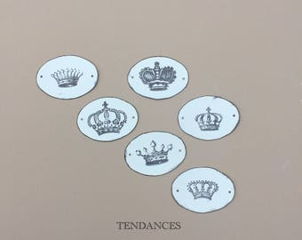 6 oval metal tags 4,5 x 3,5 cm print crowns