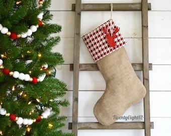 Burlap Stocking - Red/Ivory Houndstooth - Burlap Stocking, Christmas Stocking, Houndstooth Stocking, Stocking