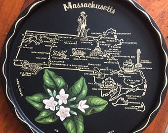 Vintage Massachusetts State Souvenir Tray