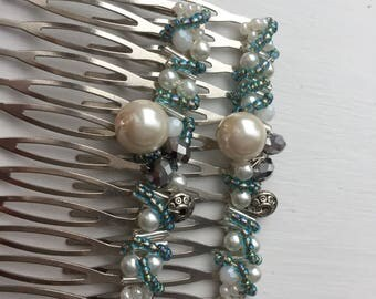 Green beaded hair combs by ashley3535
