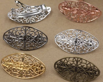 10 supports for hair clip barrette silver filigree tray