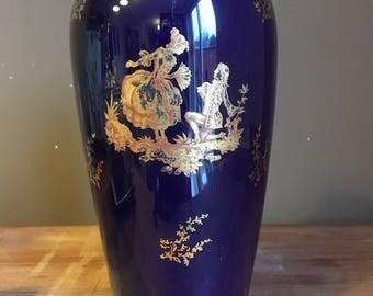 Vintage Royal Blue F.M. Limoges French vase