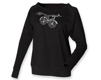 Bike lover jumper, off shoulder sweatshirt, fox sweat, minimalistic shirt, hand drawn art, bicycle top
