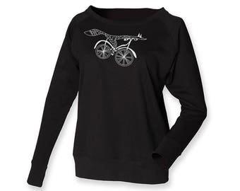 Bike lover jumper, off shoulder sweatshirt, fox sweat, minimalistic shirt, hand drawn art, bicycle top