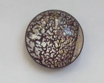 Round cabochon glass dichroic marron16mm x 1