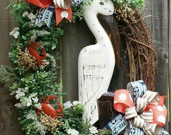 Pelican Grapevine Wreath, Beach wreath, Summer wreath, Coastal wreath, Coastal floral wreath, Beach floral wreath, Summer wreaths, Pelican