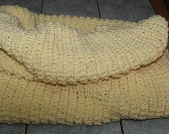 Large cream Snood can be worn over the head or double acrylic yarn - hand made-sides