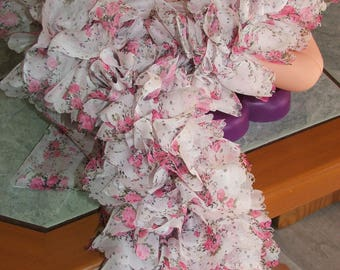 very rare color - ruffle scarf 100% polyester tortoiseshell - floral pink - made hand edge veil