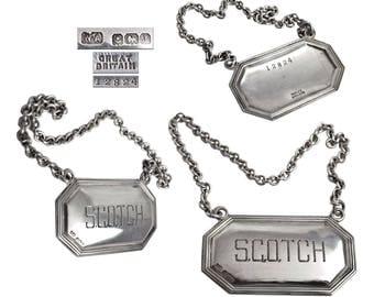 Vintage Sterling Silver Scotch Bottle Tag Decanter Label.