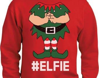Elf Suit Funny Elfie Christmas Sweatshirt