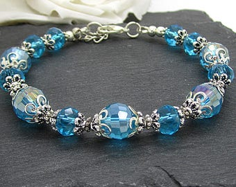 Aquamarine Crystal Bracelet, Aqua Bridesmaid Jewellery, Crystal Bridal Sets, Blue Weddings, Bridesmaid Gift Sets, Bridal Party Jewellery