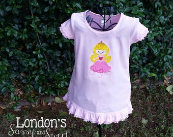 Ready to Ship Princess Aurora  Inspired Dress!/   Sleeping Beauty Inspired  Embroidered T-shirt/ Toddler T-shirt