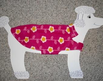"""Reversible Fleece Dog Coat, medium, extra long (24-30 lbs./ girth 23.5"""" ) Hot Pink Daisies and Dots"""