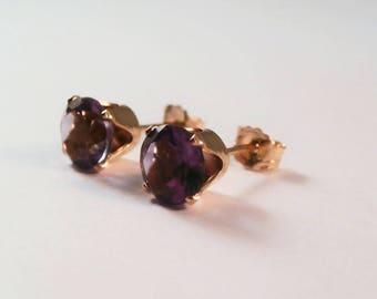 Amethyst, Natural Amethyst Stud Earrings, Amethyst Earrings, Amethyst Gold Earrings, Brazilian Amethyst Earrings, Purple Gemstone Earrings