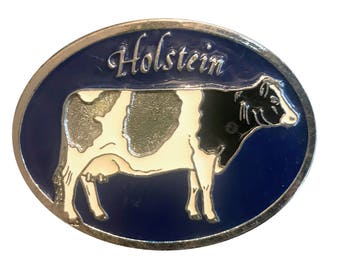 Vintage Holstein Cow Belt Buckle - Farm - Dairy Farmer - Black and White - Farming - Animal
