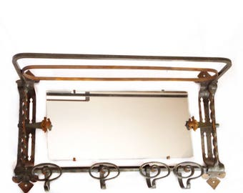 Genuine Arts and Crafts Hall Mirror - Antique Mission Coat Hanger - Mirrored Coat Rack, Hat Shelf, Swivel Mirror, Polychromed Wrought Iron