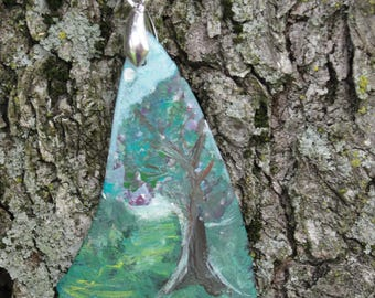 One-of-a-Kind OOAK Hand Painted Upcycled Tumbled Glass Woodland Pendant 53x30mm