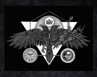 Two Headed Raven Rune Art Print