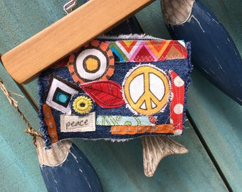hippie frayed tattered boho hippie patch peace sign