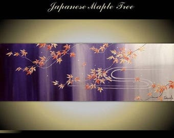 "4th of July sale Original Modern Art  Painting on Canvas 36"" x 12"", Home Decor, Wall Art ---Japanese Maple Tree--- by Tomoko Koyama"