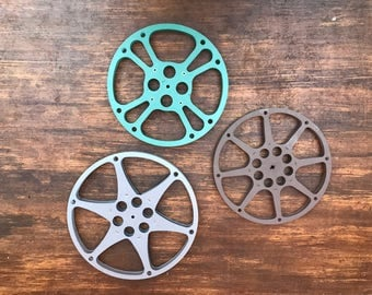 Lights Camera Action. Lot of 3 Vintage Metal Film Reels. Silver Gray, Taupe Brown, Teal Green.