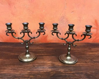 Pair of Vintage Brass Candelabras Candle Holder. Mid Century Decorative Candle Holder, Vintage Candlesticks