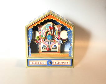 Vintage little clown circus music box animated