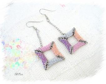 Gray Pink Purple 3D BO513 woven glass beads earrings