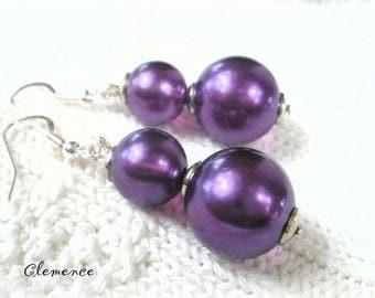 CLEMENCE purple pearls earrings