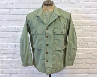 """Vintage 1940s WWII US Army 2nd Pattern HBT Shirt w/ Gas Flap. Marked Size 42 (25"""" Pit to Pit)"""
