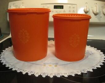 Two Vintage Tangerine Orange Tupperware Canisters 1970,s