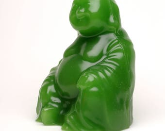 Cosmic Candles Green Buddha Pillar Unscented 3x4