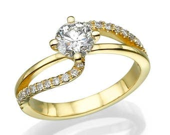 Engagement Ring, 18K White Gold, 0.84ct total Diamonds, twisted ring, diamond ring, unique engagement ring, 2 row twisted ring, curved ring
