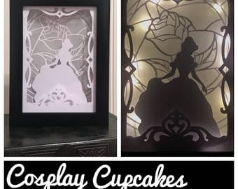 Beauty and the Beast Inspired Shadowbox - Night Light