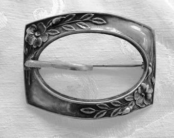 Sterling Buckle Brooch, Art Nouveau Leaves and Vines, Vintage Sterling Silver Buckle Pin