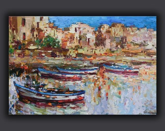 Italy Landscape painting Sicily harbor Oil painting Boat painting Seascape painting Sicily art Italy bay Wall art