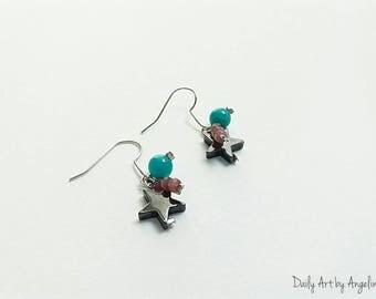 Stars and beads drop earrings