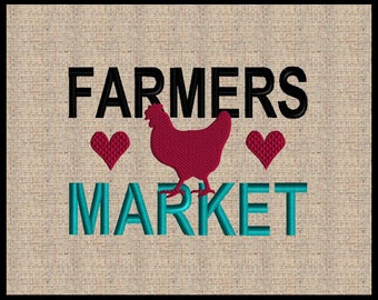 Farmers Market Embroidery Design Farm House Embroidery Design Chicken Embroidery Design 5 sizes  4x4 5x7 up to 8x6