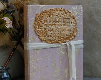 Blush pink and gold wedding guest book, photo album, tale as old as time fairytale wedding Photo booth album - 8.5x6 inch Made To Order