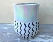 Handmade ceramic handleless mug. Wheel thrown coffee cup. Ceramic tumbler, porcelain wine cup. Black and white mug.