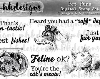 Pet Puns Digital Stamp Set