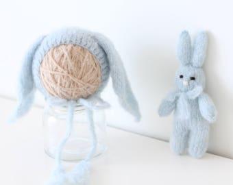 Newborn rabbit - Newborn props - Photo prop rabbit - Newborn set - Photo prop boy -Newborn beat hat -Photography prop -Baby boy - Light blue