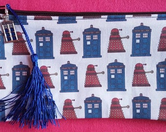 Doctor Who inspired Tardis and Daleks zipped pouch