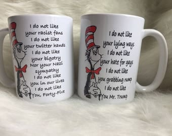 Cat in the Hat Anti-Trump Coffee Mug Set of Two - 15oz
