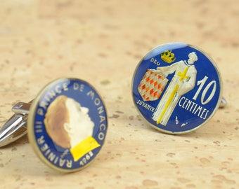 Cufflinks Monaco enamel 10 cents Coin